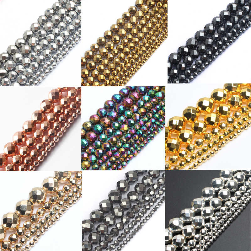 "AAA Faceted Silver Rose Gold Hematite Natural Stone Beads Round Loose beads For Jewelry Making 15"" 2/3/4/6/8/10mm Diy Bracelet"