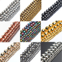 "AAA Faceted Silver Rose Gold Hematite Natural Stone Beads Round Loose beads For Jewelry Making 15"" 2/3/4/6/8/10mm Diy Bracelet(China)"