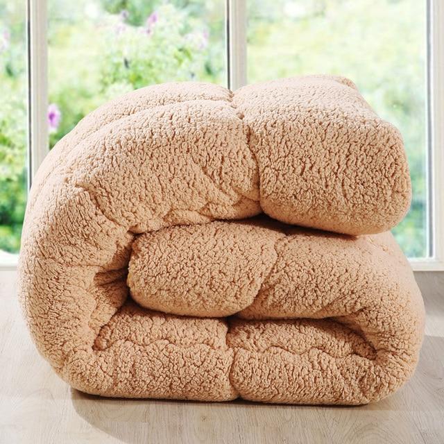 Camelhair super warm winter wool quilt comforter/duvet/blanket Lamb Down Fabric filling queen king size single double pink