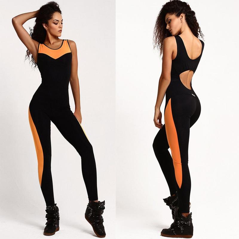 2018 Kvinnor Sport kostym Mesh Bodysuit Kvinnor Yoga Långa Byxor Sexy Jumpsuit Kvinnor Romper Backless One Piece Running Set Strumpbyxa