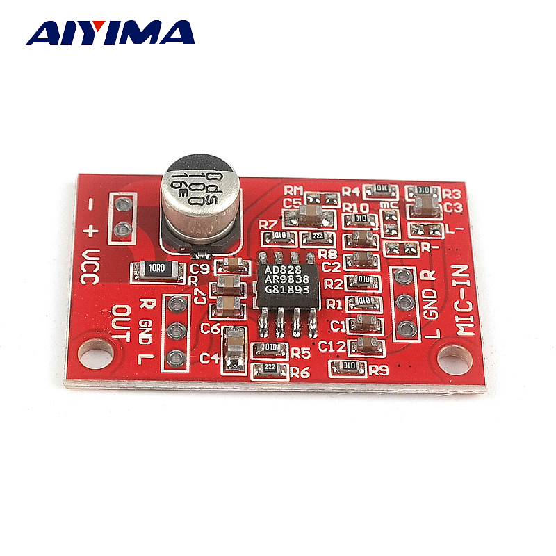 aiyima ad828 stereo amplifiers dynamic microphone preamplifier audio amplifier board single cell. Black Bedroom Furniture Sets. Home Design Ideas