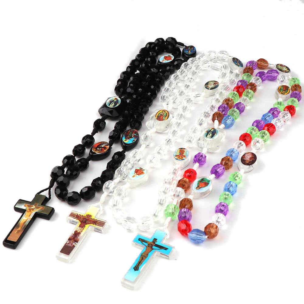 8x9mm Colorful Catholic Hand knotted Rosary  Arcylic Faceted Beads Necklace Jewelry Religious Photo icon Blessed Cross Charms
