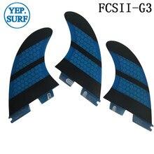 Surf fins FCSII  G3 Blue color Honeycomb Fiberglass surf tri-fin set