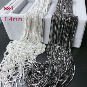 ss4 1.4mm rhinestone cup chain,,fancy gemstone tassels trim,crystal trimming jet pink blue shinny DIY jewelry chain for nail art(China)