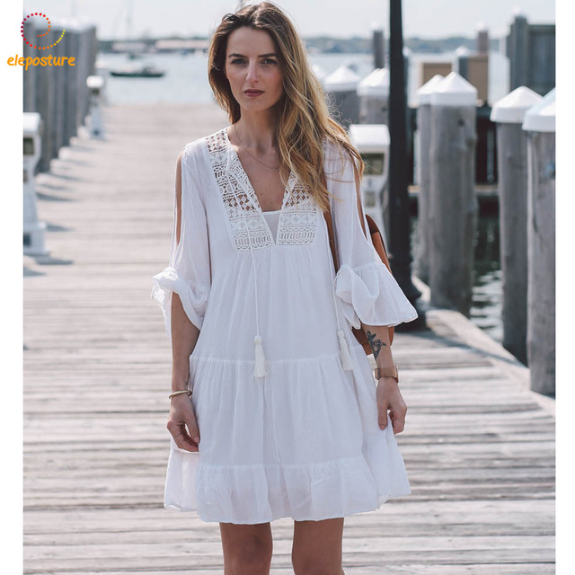 78c4b99dae455 2018 New Sexy Beach Cover Up White Beach Dress Women Bikini Cover Up  Crochet Hollow Out Bathing Suit Cover Ups Summer Beachwear