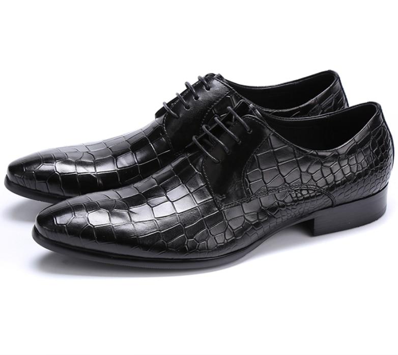 Large size EUR45 Crocodile Grain black brown tan oxfords font b mens b font business font
