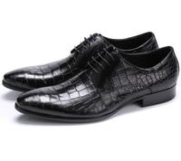 Large size EUR45 Crocodile Grain black / brown tan oxfords mens business shoes genuine leather dress shoes mens wedding shoes