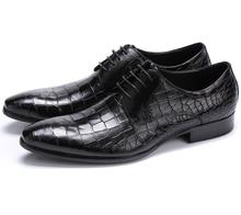 Large size EUR45 Crocodile Grain black brown tan oxfords mens business shoes genuine leather dress shoes