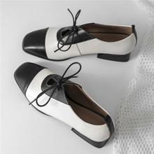 Wedding Mary Janes Women Genuine Leather Chunky Low Heels Party Pumps Shallow Square Toe Oxfords Laddy Office Shoes Casual Shoes недорого