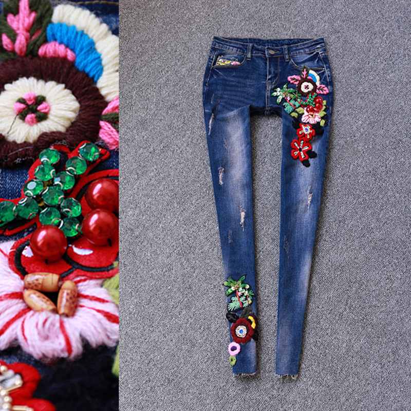 2017 spring brand women's fashion luxury three-dimensional flowers sequins diamonds jeans beaded embroidery flowers feet  pants a three dimensional embroidery of flowers trees and fruits chinese embroidery handmade art design book