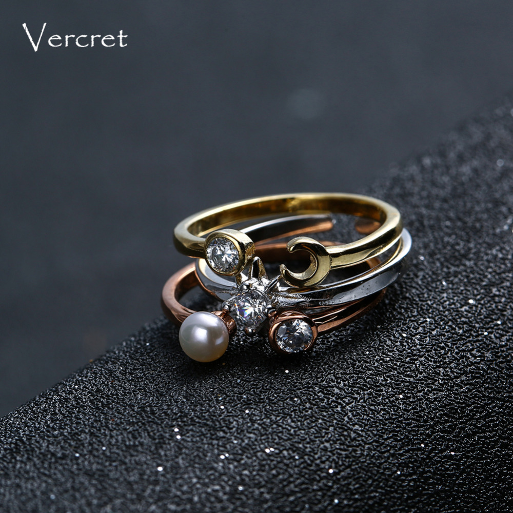 Vercret freshwater pearl ring set 925 sterling silver stack ring sun