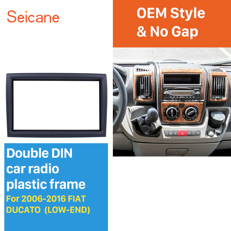 цена на Seicane 2DIN 173*98mm Car Stereo Fascia Frame Indash Trim Kit Refitting Dashboard For 2006-2016 FIAT DUCATO LOW-END