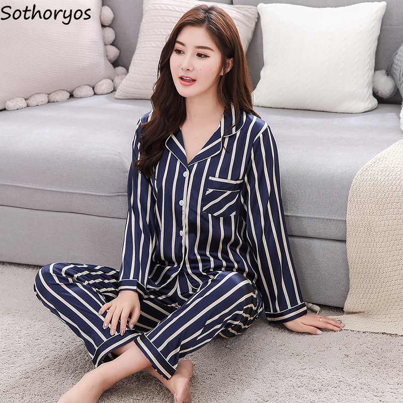 Pajama     Sets   Women Silk Turn-down Collar Striped Leisure Pockets Long Sleeve   Pajamas   Womens Korean Soft 2 Pieces Homewear   Set
