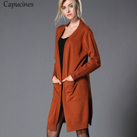 Fashion Side Split Caramel Colour Pocket Cardigan 2018 Autumn Women V neck Causal Loose Sweater Long Sleeves Knitted Outerwear