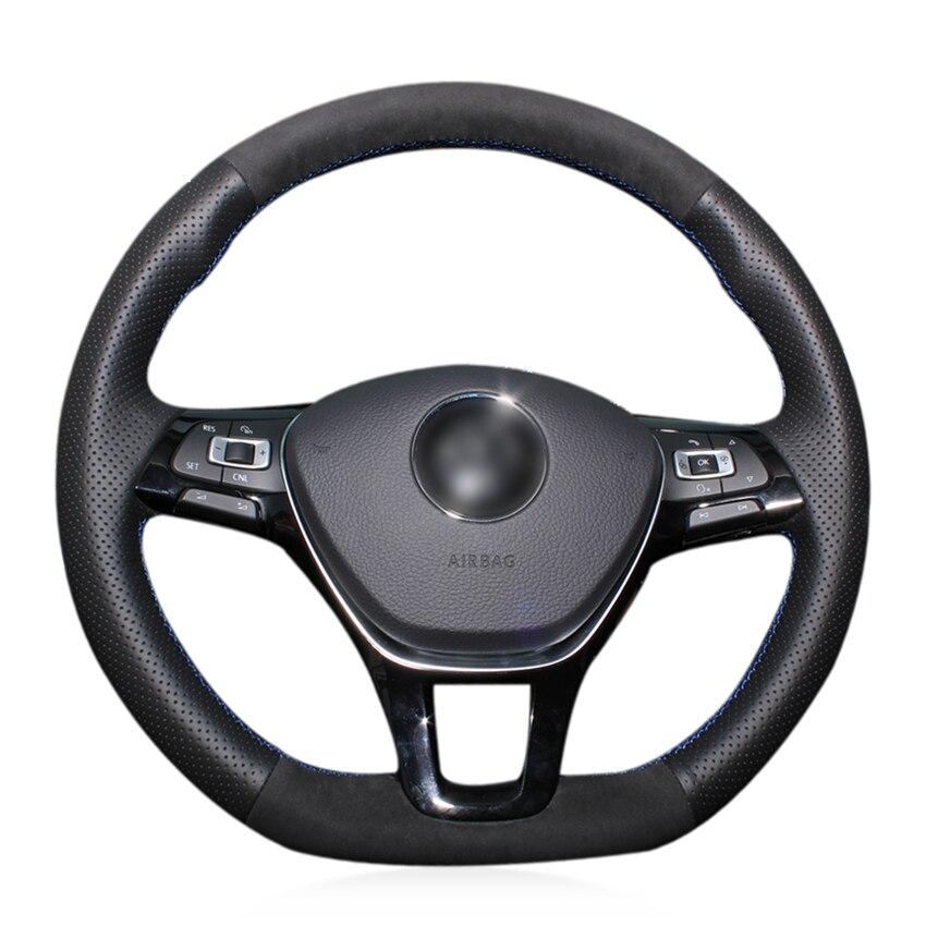 Couvre-volant de voiture en daim noir véritable cousu à la main pour Volkswagen VW Golf 7 Mk7 nouvelle Polo Jetta Passat B8 Tiguan