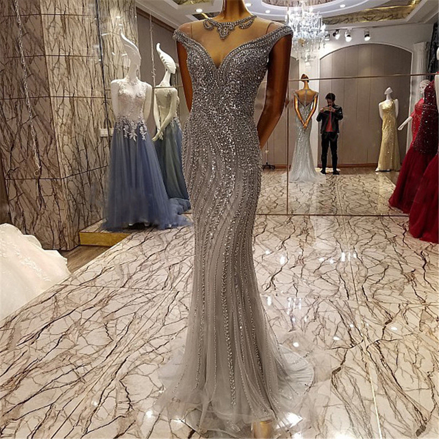 264a4dc457d Sparkly Rhinestone Great Gatsby Prom Dresses Abendkleider 2017 Extreme  Luxury Mermaid Evening Gowns Silver Crystal Formal Dress