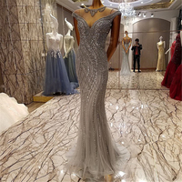 Sparkly Rhinestone Great Gatsby Prom Dresses Abendkleider 2017 Extreme Luxury Mermaid Evening Gowns Silver Crystal Formal Dress