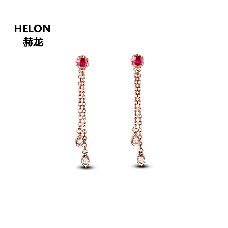 Natural Ruby Genuine Diamonds Drop Earrings for Women Solid 18k Rose Gold Engagement Wedding Earrings Fine Jewelry solid 18k rose gold women natural diamonds stud earrings engagement wedding fine earrings jewelry gift