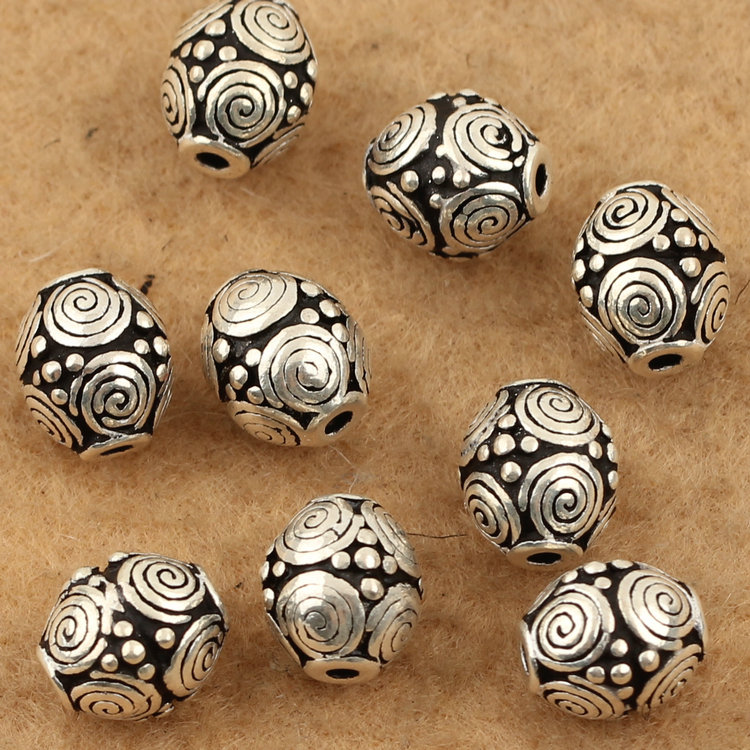 100 925 Silver Jewelry Beads Vintage Thai Silver Good Luck Symbol