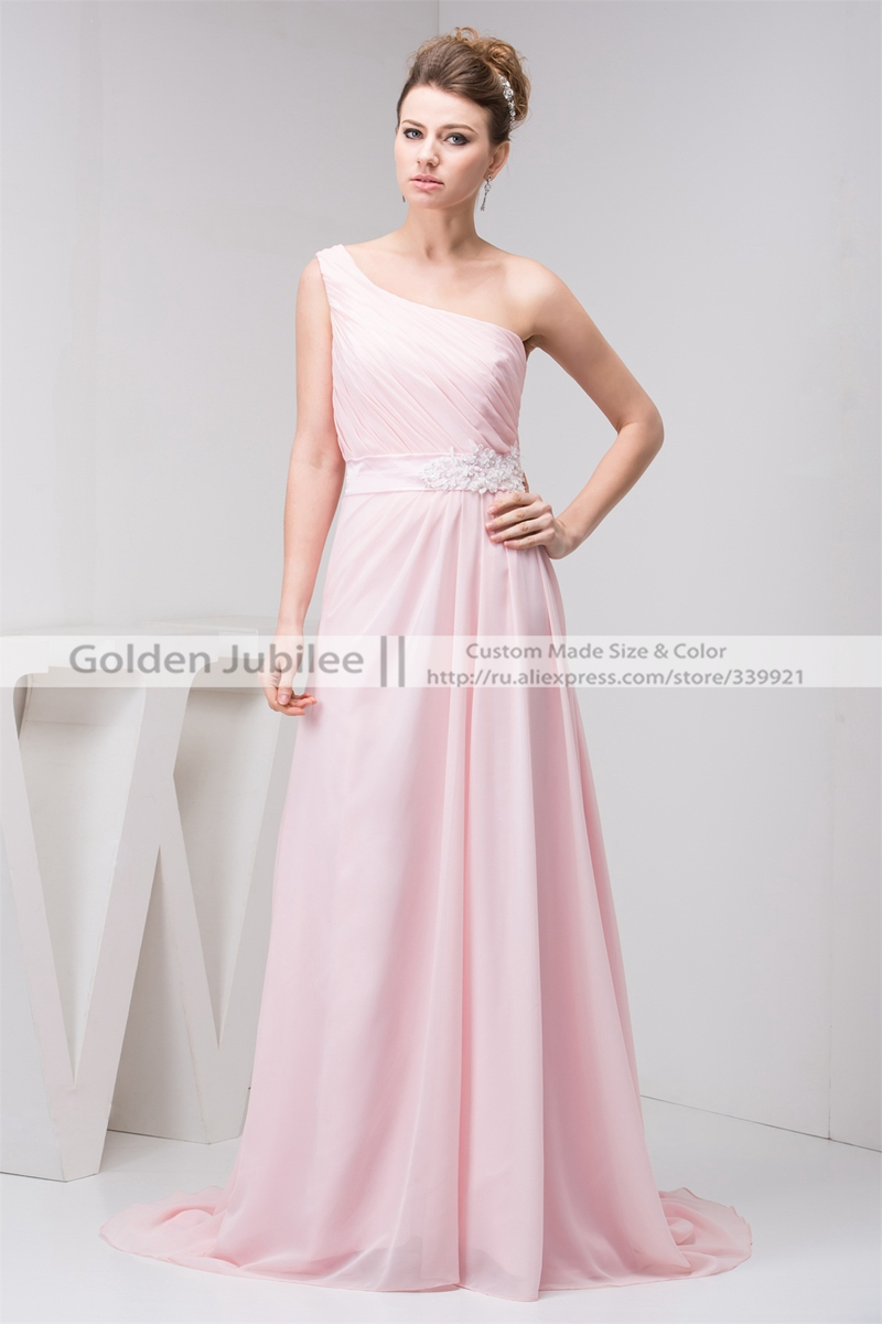 Hot Sale Pink One Shoulder   Bridesmaid     Dresses   Chiffon Sashes Simple Prom Gowns For Girls A Line Robe De b-02