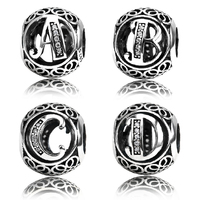 Authentic 925 Sterling Silver Vintage A to T, Clear CZ Alphabet Letter Charms Fit Brand Bracelets & Bangles Beads 4mm