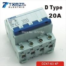 4P 20A D type 240V/415V  Circuit breaker MCB 4 POLES