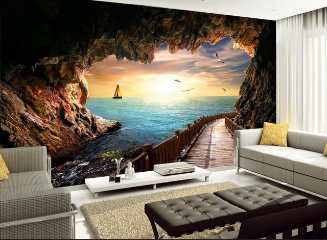 3d Room Wallpaper Landscape Karst Cave Seascape Beautiful Sunset 3d  Wallpaper Modern For Living Room Murals