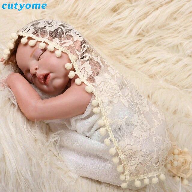 Fotografia Gorras Baby Photography Props Blanket Lace Wraps Stretch Knit Wrap Newborn Photo 45*45cm Infant Clothes Swaddling