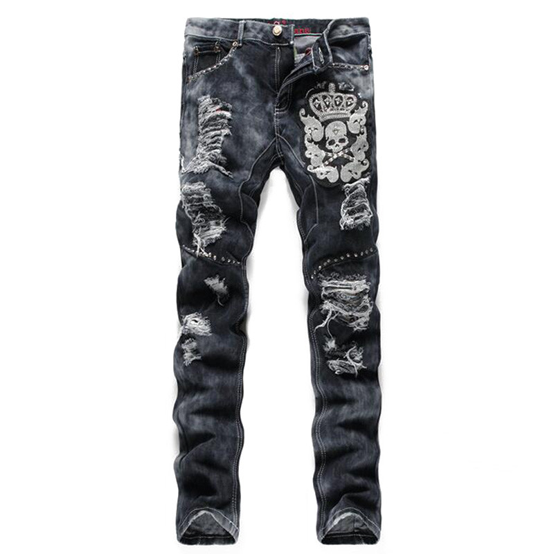 Novelty Mens Ripped Denim Jeans With Sequins Slim Fit Torn Jean Joggers For Male Skull Embroidery Distressed Hip Hop Jeans Pants