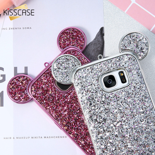 pretty nice fcfbe 2e6aa US $3.49 30% OFF|For Samsung Galaxy S8 Case,KISSCASE Fashion Glitter  Sequins Ears Silicone Case For Samsung Galaxy S8 Plus Case S7 S6 Edge  Cases-in ...