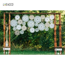 Laeacco Flower Pattern Party Pendant Wedding Door Happy Love Outdoor Scenic Photo Backdrop Photography Background Photo Studio professional 10x20ft muslin 100% hand painted scenic background backdrop spring flower wedding photography background
