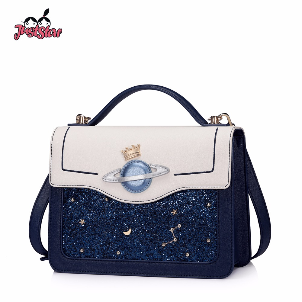 JUST STAR Women's PU Leather Handbags Ladies Outer Space Planet Tote Bag Female Fashion Crown Star Rivets Messenger Bags JZ4624 outer space star print nonslip rug