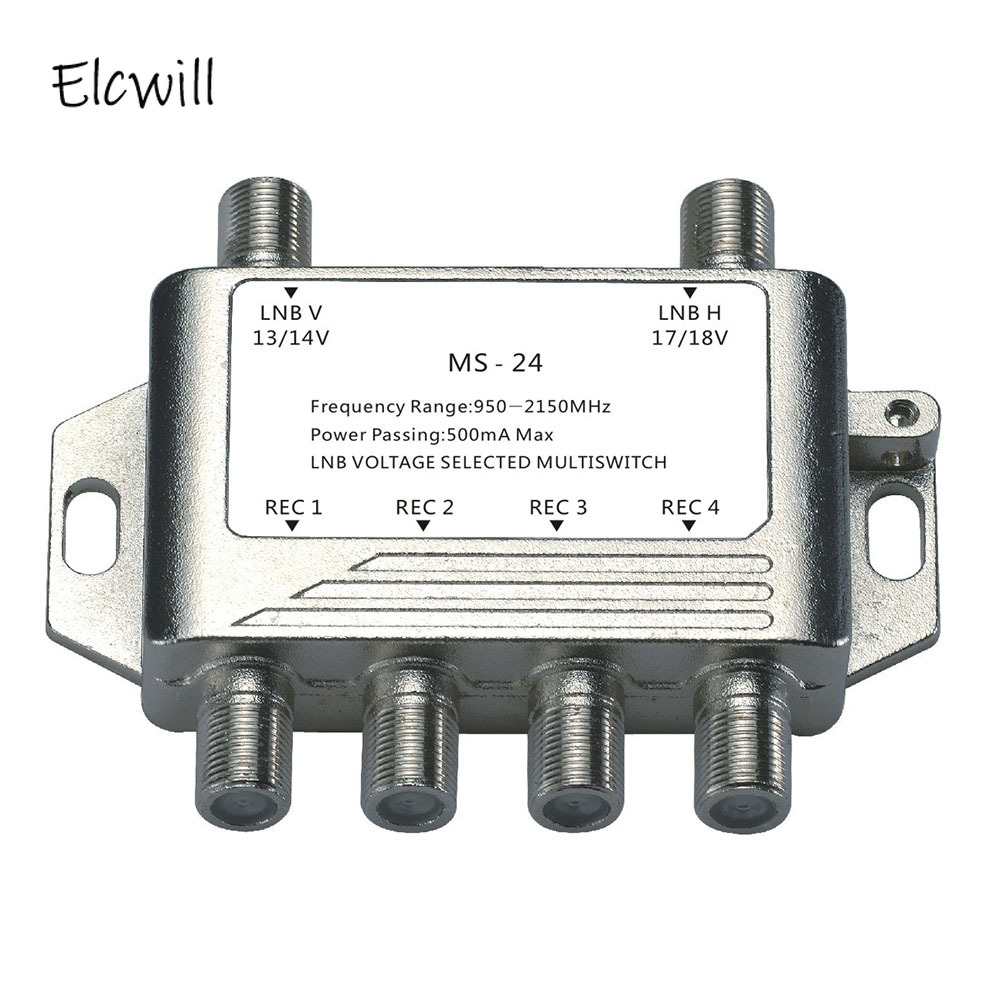 2 In 4 Out DiSEqC 4x2 Switch Satellite Signal Multiswitch LNB Voltage Selected 950-2150MHz For TV Receiver