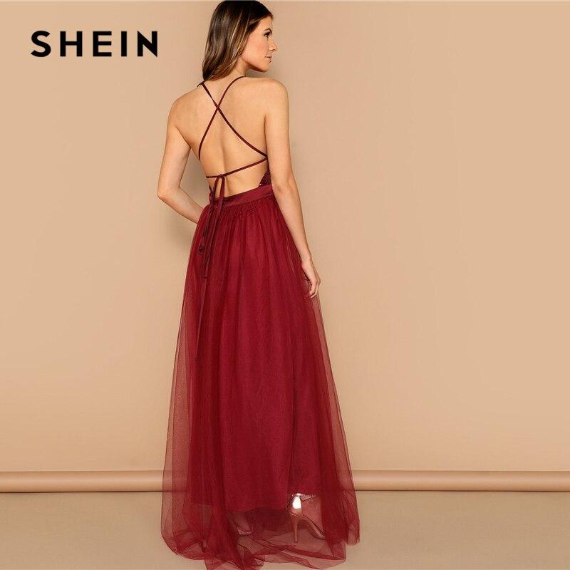 8417a81caa5a € 20.64 40% de DESCUENTO|SHEIN Sexy Burgundy criscross espalda abierta  lentejuelas parched Strappy vestido largo mujer verano sólido Fit y Flare  malla ...
