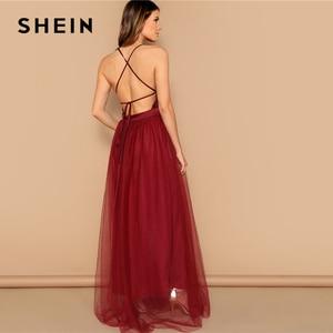 Image 3 - Vestido largo SHEIN sexi de color burdeos entrecruzado con espalda descubierta y lentejuelas con tiras, vestido de fiesta de verano de color liso con ajuste y llamarada de malla