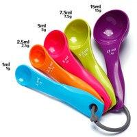 5pcs Multi-color Measuring Spoons Set Salt Oil Spoon 1ml 2.5ml 5ml 7.5ml 15ml Kitchen Measuring Tool