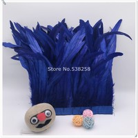New dark royal blue 2m/lot 12 14inches 30 35cm height Coque Tail Fringes Rooster feather trim rooster tail trimming ribbon