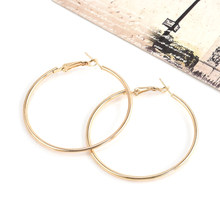 Aros Mujer Oreja 2018 New Fashion Earrings For Women Statement Jewelry Gifts Alloy Round Big Large Hoop Earring Sliver Plated(China)