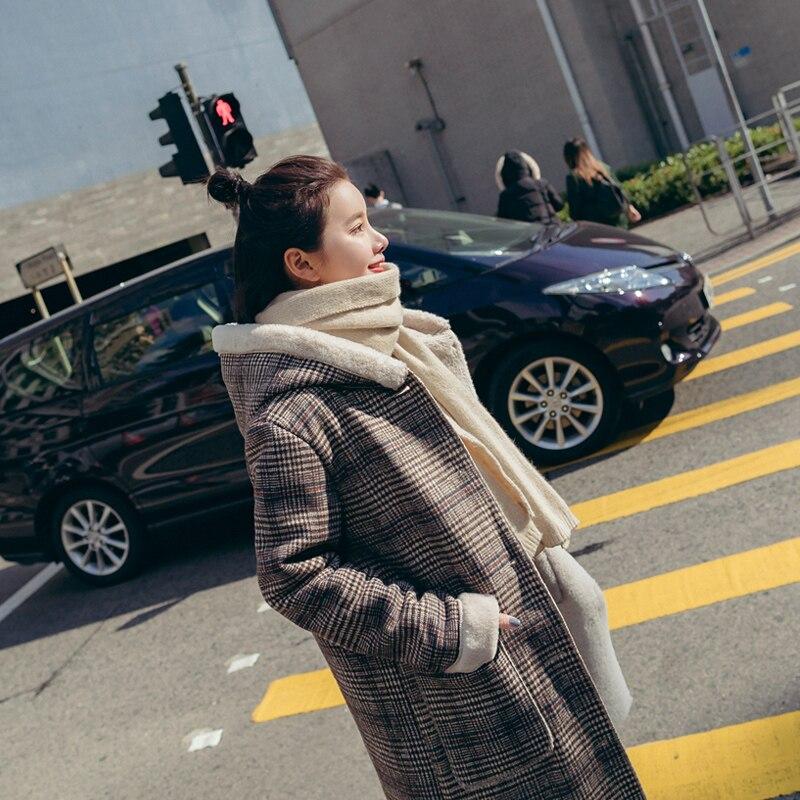 Vêtements Capuchon Mince Laine Long De Agneau Manteau Femmes Pour À Mélange Vogue Plaid D'hiver Corée Mode 945 Doublure Doux Chaud Dames Xy qwOYt