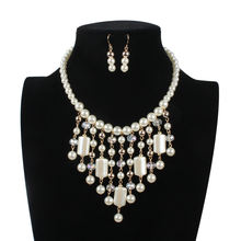 Ожерелье и серьги из искусственного жемчуга в форме кисточки