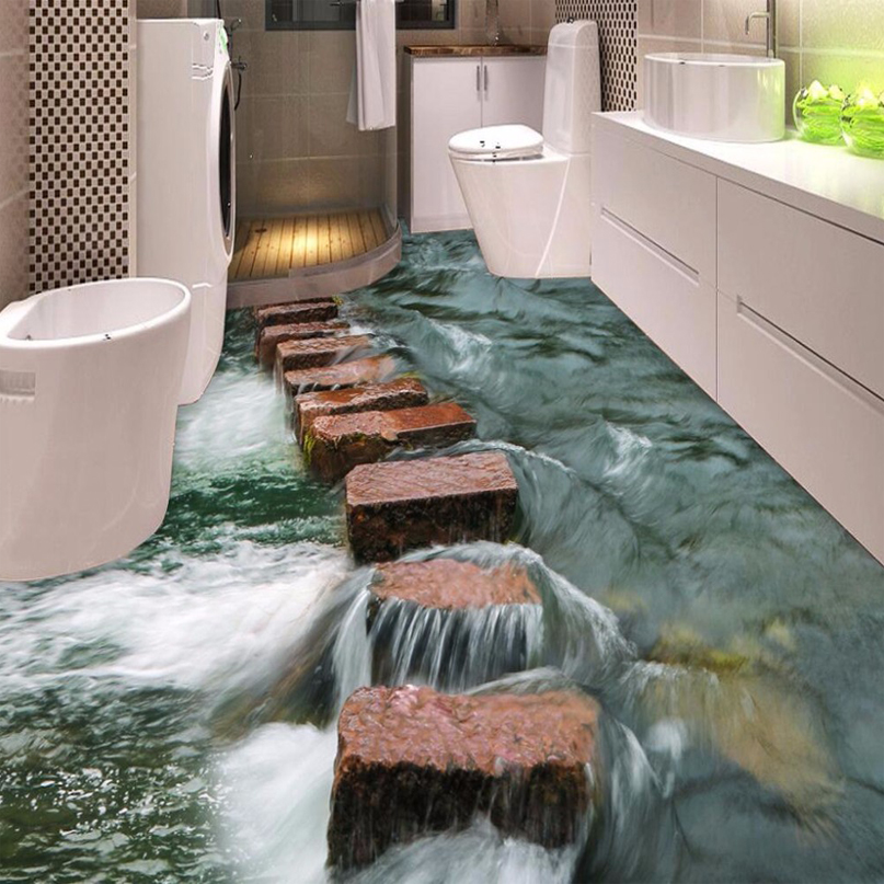 Custom D Floor Wallpaper Modern Art River Stones Bathroom Floor Mural  Paintings Pvc With Heat Bathroom Floor.