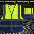 High visibility safety  reflective clothing safety vest fluorescent yellow blue safety  vest