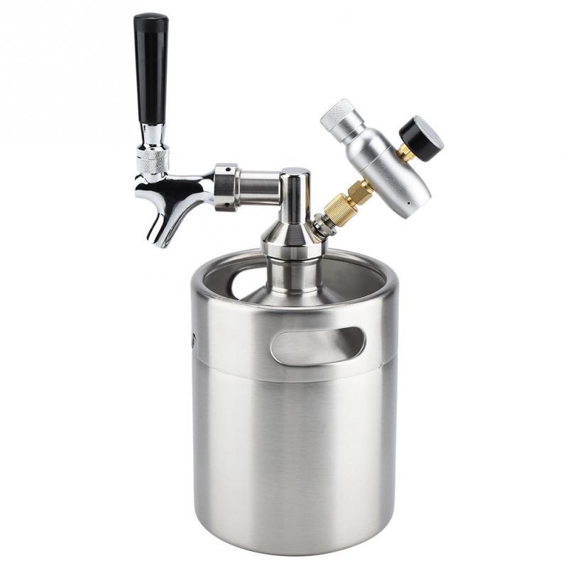 2L Stainless Steel Beer Keg With Carbonator Cap Faucet Mini Barrel Beer Kegging Equipment Home Brewing