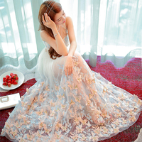 2017 Summer New Fashion Gauze Butterfly Embroidery Fairy Dresses O neck Sleeveless Holiday Beach Portrait Ultra Long Dress