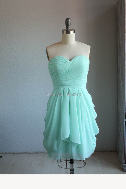 Hot Sale Mint Green Short Prom Dresses Summer Beach Bridesmaid Dresses 2015  Sweetheart Pleated Ruffles Party Gowns Real Images 521af1464391