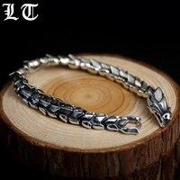 LT Gothic 925 Sterling Silver Dragonscale Bracelet Men Vintage Rock Biker Handmade Luxury Cool Dragon Bracelets Jewelry For Male