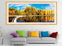 5d Diy Diamond Painting Autumn Lake Cross Stitch Round Rhinestone Diamond Mosaic Picture Home Decoration Christmas