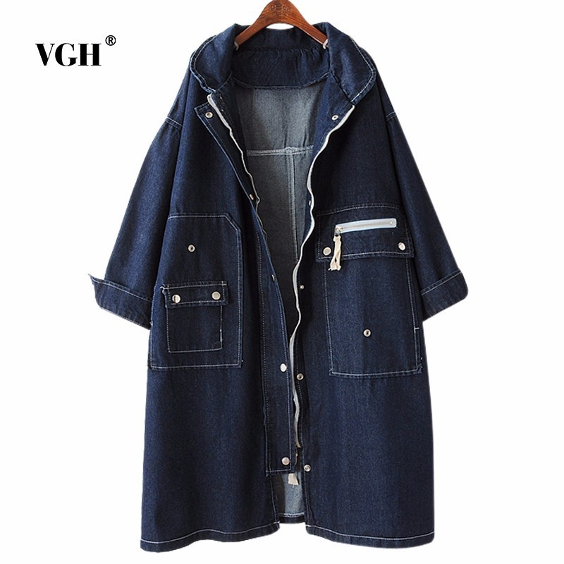VGH Official Store VGH Easy Thin Autumn And Winter Jacket Fat Mm Concise Joker Will Code Suit-dress Long Fund Cowboy Windbreaker Loose Coat A4960