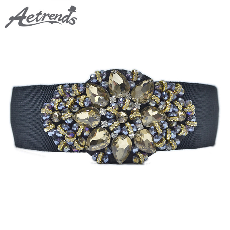 [AETRENDS] Wide Rhinestone Flower Cinch Belt Female Fashion Girdle Waistband Belts For Women Cummerbunds D-0057