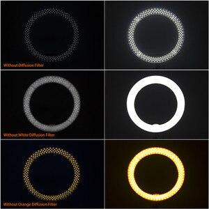 Image 4 - FOSOTO RL 18 oświetlenie fotograficzne ściemniana obręcz lampa pierścień aparatu lampa Led Ringlight z stojak trójnóg na telefon Youtube makijaż